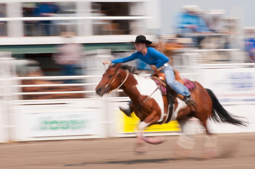 Barrel racing, Sundre Pro Rodeo, Sundre, Alberta, Canada