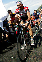 CYCLING - TOUR DE FRANCE 2004 - STEP12 - CASTELSARRASIN > LA MONGIE - 16/07/04 - PHOTO: OLIVIER LABALETTE / DIGITALSPORT<br /> IVAN BASSO (ITA) / TEAM CSC - LANCE ARMSTRONG (USA) / US POSTAL BERRY FLOOR