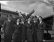 26/04/1958 <br /> 04/26/1958<br /> 26 April 1958<br /> Arrival of Seaboard Super Constellation due to begin Aer Lingus' first transatlantic service two days later at Dublin Airport. Picture shows  part of the aircrew(l-r): Captain William Donahue Seaboard and Western; Rosalind McCarthy, Aer Lingus Chief hostess; J.E. O'Dwyer Seaboard and Western Relief Captain; Joan Camman, Aer Lingus Hostess; R.J. McAllister, 1st officer;  Miriam O'Donnell, Aer Lingus Hostess.