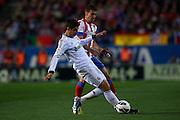 MADRID, SPAIN - APRIL 27: (L) Alvaro Morata of Real Madrid CF  is followed by (R) Gabi Fernandez of Club Atletico de Madrid during the Liga BBVA between Club Atletico de Madrid and Real Madrid CF at the Vicente Calderon stadium on April 27, 2013 in Madrid, Spain. (Photo by Aitor Alcalde Colomer).