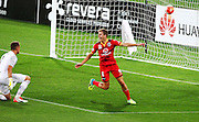 Adelaide United's Stefan Mauk celebrates his goal during the Round 22 A-League football match - Wellington Phoenix V Adelaide United at Westpac Stadium, Wellington. Saturday 5th March 2016. Copyright Photo.: Grant Down / www.photosport.nz
