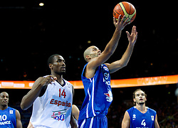Serge Ibaka of Spain vs Tony Parker of France during final basketball game between National basketball teams of Spain and France at FIBA Europe Eurobasket Lithuania 2011, on September 18, 2011, in Arena Zalgirio, Kaunas, Lithuania. (Photo by Vid Ponikvar / Sportida)