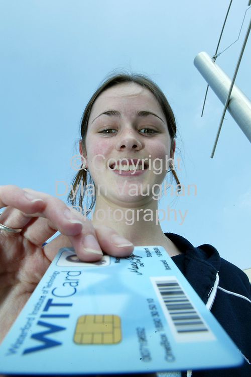 9/5/2002 Irish Times.For the Attention of Ray Comiskey.Mary Griffin a student at Waterford Institute of Technology pictured  using her WITCard..Picture Dylan Vaughan
