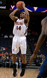 Virginia Cavaliers point guard Sean Singletary (44) shoots a jump shot against Longwood.  The Virginia Cavaliers Men's Basketball Team defeated Longwood University 90-49 at the John Paul Jones Arena in Charlottesville, VA on February 13, 2007.