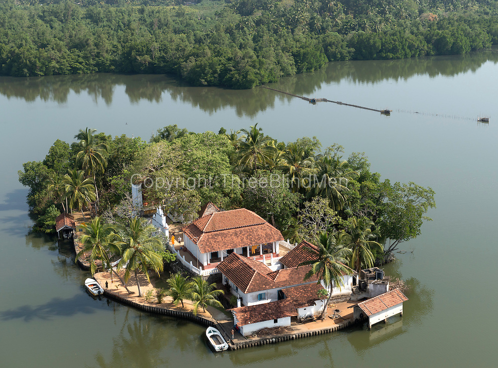 Aerial view of the Kothduwa Vihara (temple) showing it's isolated position in the Madu Ganga lagoon.