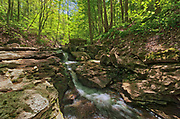 16 Mile Creek tumbles over Irondequoit Limestone of the Niagara Escarpment at Louth Falls. Conservation Area.  Golden Horseshoe. Niagara Peninsula.<br />