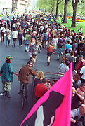 Marching crowd,First Criminal Justice March,Park Lane, London, UK, 1st of May 1994.