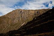Ancient Inca ruins in Ollantaytambo Peru