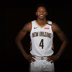 Sep 24, 2018; New Orleans, LA, USA; New Orleans Pelicans guard Elfrid Payton (4) poses for a portrait during Media Day at Ochsner Performance Center. Mandatory Credit: Derick E. Hingle-USA TODAY Sports