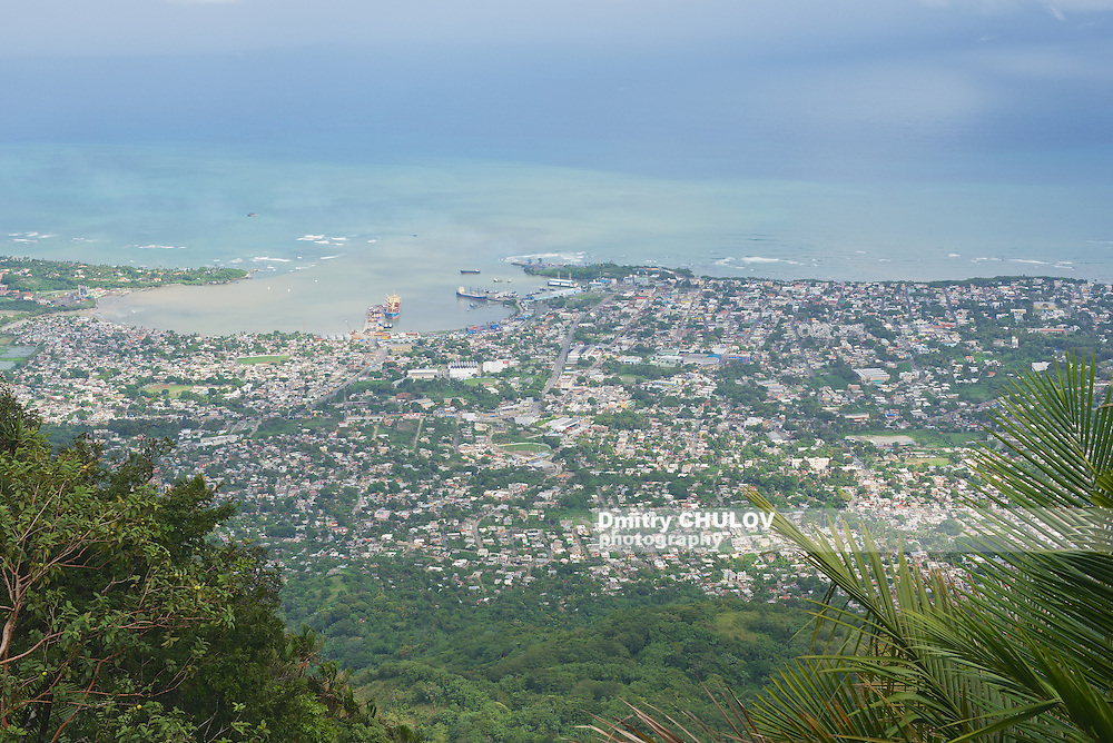 View to the Puerto Plata city from the top of Pico Isabel de Torres in Puerto Plata, Dominican Republic.