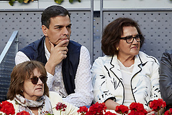 May 13, 2018 - Madrid, Madrid, Spain - Politician Pedro Sanchez (L) leader of the Spanish Socialist Workers' Party attends day nine of the Mutua Madrid Open tennis tournament at the Caja Magica on May 13, 2018 in Madrid, Spain  (Credit Image: © David Aliaga/NurPhoto via ZUMA Press)