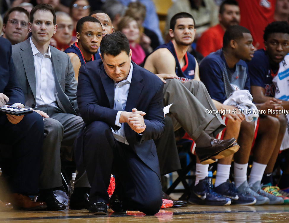 SHOT 2/26/15 8:41:49 PM - Arizona head coach Sean Miller reacts to a call against Colorado during their regular season Pac-12 basketball game at the Coors Events Center in Boulder, Co. Arizona won the game 82-54.<br /> (Photo by Marc Piscotty / &copy; 2015)