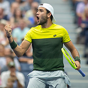 2019 US Open Tennis Tournament- Day Ten.  Matteo Berrettini of Italy reacts during his match against Gael Monfils of France in the Men's Singles Quarter-Finals match on Arthur Ashe Stadium during the 2019 US Open Tennis Tournament at the USTA Billie Jean King National Tennis Center on September 4th, 2019 in Flushing, Queens, New York City.  (Photo by Tim Clayton/Corbis via Getty Images)