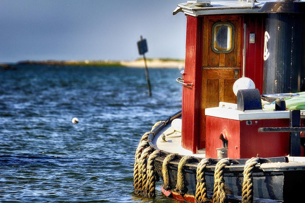 Tugboat at the inlet to Edgartown Harbor - Edgartown, Massachusetts.