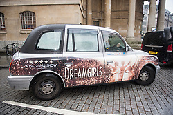 © Licensed to London News Pictures. 21/01/2018. London, UK. UKIP party leader HENRY BOLTON is seen leaving Broadcasting House in London in a Taxi covered in a DREAMGIRLS  advert, after radio and television appearances. The Uk Independence Part NEC is due to meet today to discuss Henry Bolton's leadership following a number of unfavourable stories about Bolton's private life.  Photo credit: Ben Cawthra/LNP