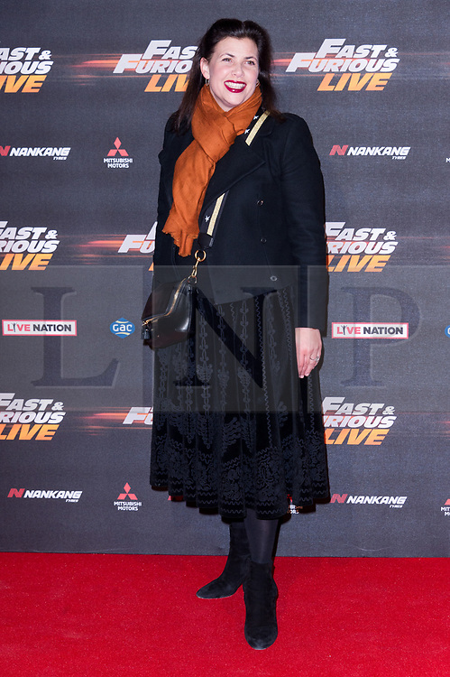 © Licensed to London News Pictures. 19/01/2018. London, UK. KIRSTIE ALLSOPP attends the world premiere of Fast & Furious live show at the O2.  Cars will perform stunts and scenes capturing the spirit of the film series. Photo credit: Ray Tang/LNP