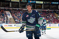 KELOWNA, CANADA - JANUARY 5: Austin Strand #2 of the Seattle Thunderbirds skates to the bench to celebrate a goal against the Kelowna Rockets on January 5, 2017 at Prospera Place in Kelowna, British Columbia, Canada.  (Photo by Marissa Baecker/Shoot the Breeze)  *** Local Caption ***