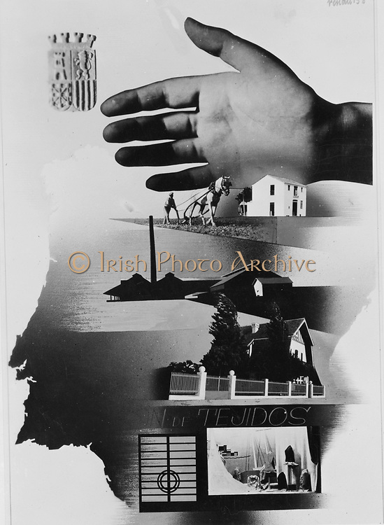 Spanish War Poster, c1935-1942,  the protective hand of the State shielding  the nation.
