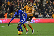 Wolverhampton Wanderers midfielder Dave Edwards (4) makes a tackle on Birmingham City defender Cheick Keita (33) 0-0 during the EFL Sky Bet Championship match between Wolverhampton Wanderers and Birmingham City at Molineux, Wolverhampton, England on 24 February 2017. Photo by Alan Franklin.