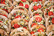 A tray of small whole grain pizzas, Common Ground Fair, Unity, Maine.