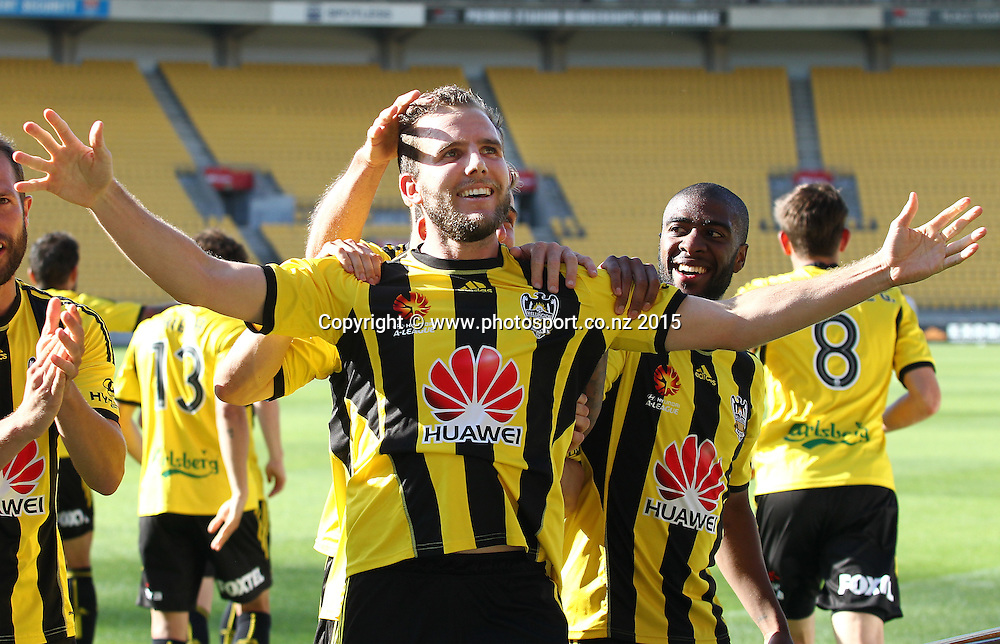 Phoenix' Jeremy Brockie celebrates his 1st goal for the day in his final match for the Phoenix during the A-League football match between the Wellington Phoenix & Brisbane Roar at Westpac Stadium, Wellington. 4th January 2015. Photo.: Grant Down / www.photosport.co.nz