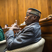 ANNAPOLIS, MD - FEB19: Maryland state delegate Nathaniel Oaks, listens to testimony, during a hearing on a bill supporting the right to die for those with terminal illnesses at the General Assembly of Maryland, February 19, 2016. (Photo by Evelyn Hockstein/For The Washington Post)