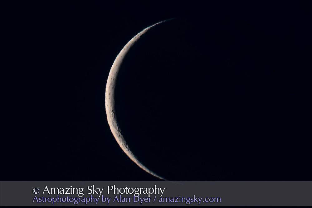 The 26-day-old waning crescent Moon with the Astro-Physics 130mm refractor and Canon 60Da camera. On the morning of July 21, 2017. Taken as part of a series of waning Moon shots. Poor seeing from the low altitude inevitably blurs detail and sharpness. I've corrected out the very yellow tint of the Moon from the low altitude and twilight sky, to better match the neutral colour of the rest of the Moons in the waning Moon series.