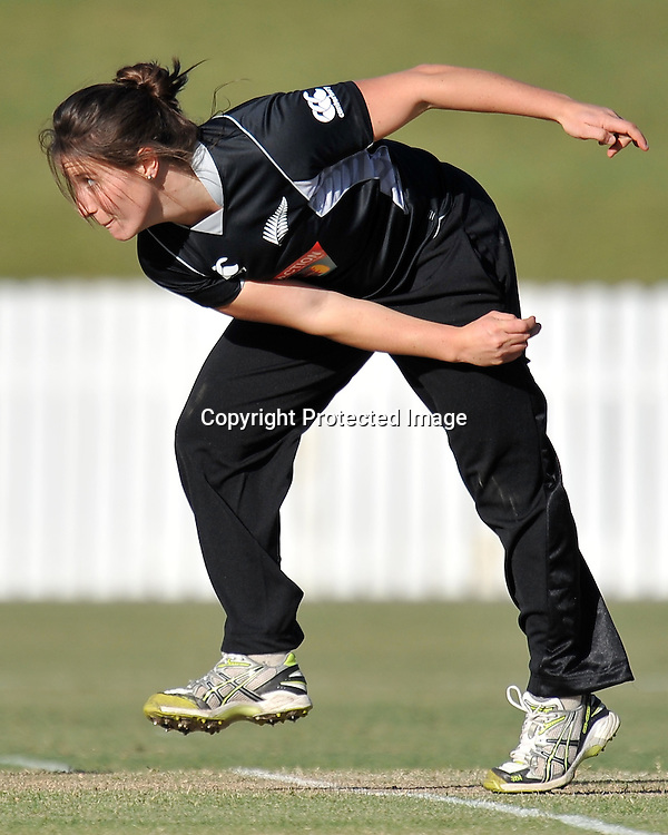 Kate Broadmore bowling for the White Ferns during action in Game 6 (ODI) of the Rose Bowl Trophy Cricket played between Australia and New Zealand at Alan Border Field in Brisbane (Australia) ~ Monday 14May 2011 ~ Photo : Steven Hight (AURA Images) / Photosport