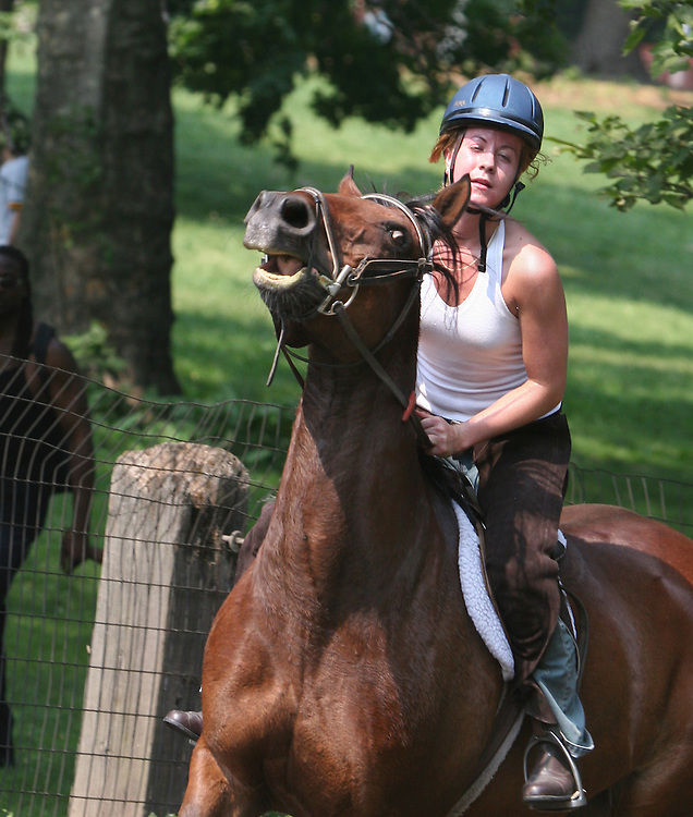 Second of three. She was a very experienced rider on a rather hot day in June. Here her horse is a bit rank.