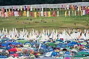 Flags over the campsites. The 2015 Glastonbury Festival, Worthy Farm, Glastonbury.