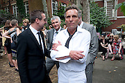 DAVE DURRELL; ROBERT PERENO; SIMON MILLS, Sebastian Horsley funeral. St. James's church. St. James. London afterwards in the church garden. July 1 2010. -DO NOT ARCHIVE-© Copyright Photograph by Dafydd Jones. 248 Clapham Rd. London SW9 0PZ. Tel 0207 820 0771. www.dafjones.com.