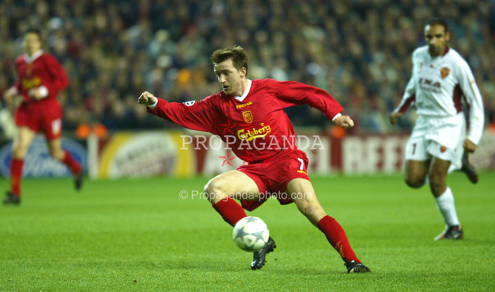 LIVERPOOL, ENGLAND - Tuesday, March 19, 2002: Liverpool's Vladimir Smicer in action against AS Roma during the UEFA Champions League Group B match at Anfield. (Pic by David Rawcliffe/Propaganda)