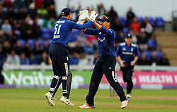 England's Jonny Bairstow is congratulated by Jason Roy after running out Pakistan's Mohammad Narwaz during the Fifth Royal London One Day International at the SSE SWALEC Stadium, Cardiff.