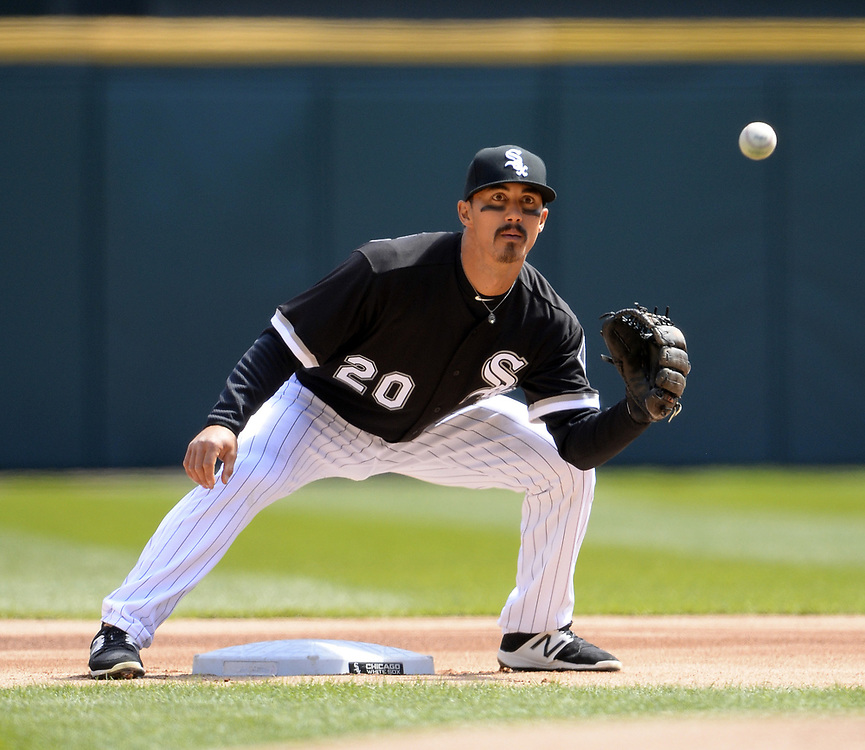 CHICAGO - APRIL 06:  Tyler Saladino #20 of the Chicago White Sox fields against the Detroit Tigers on April 6, 2017 at Guaranteed Rate Field in Chicago, Illinois.  The White Sox defeated the Tigers 11-2.  (Photo by Ron Vesely)   Subject:  Tyler Saladino