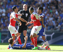 Referee Anthony Taylor breaks apart Mikel Arteta ( L ) of Arsenal and Radamel Falcao of Chelsea ( R)  - Mandatory byline: Paul Terry/JMP - 07966386802 - 02/08/2015 - Football - Wembley Stadium -London,England - Arsenal v Chelsea - FA Community Shield