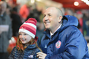 Accrington Stanley Manager John Coleman with a fan before the EFL Sky Bet League 1 match between Accrington Stanley and Sunderland at the Fraser Eagle Stadium, Accrington, England on 3 April 2019.