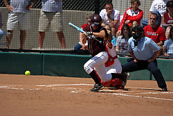 28 April 2007: Katie Wagner lays down a bunt. The Southern Illinois Salukis played the Illinois State Redbirds on the campus of Illinois State University in Normal Illinois.