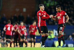 Marcos Rojo and Antonio Valencia celebrate after Zlatan Ibrahimovic opens the scoring - Mandatory by-line: Matt McNulty/JMP - 04/12/2016 - FOOTBALL - Goodison Park - Liverpool, England - Everton v Manchester United - Premier League