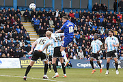 Gillingham forward Cody MacDonald heads for goal during the Sky Bet League 1 match between Gillingham and Shrewsbury Town at the MEMS Priestfield Stadium, Gillingham, England on 23 April 2016. Photo by Martin Cole.