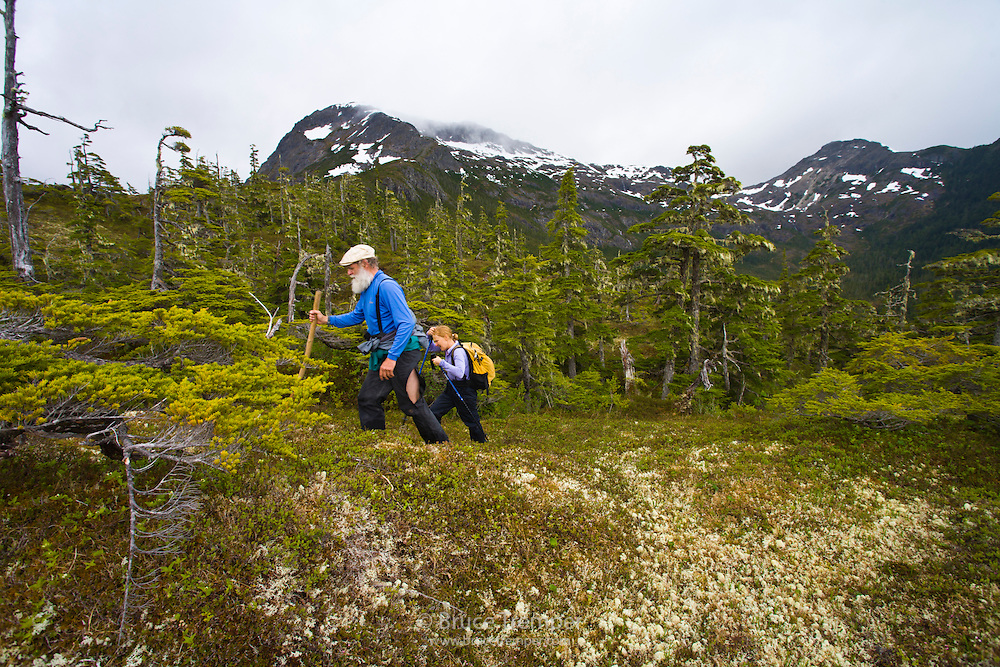 Doug Fesler and Susi Hauser kike in Bear Trap Bay on Prince William Sound, Alaska
