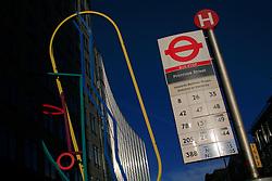 UK ENGLAND LONDON 8DEC13 - Bus stop and modern art sculpture near Liverpool Street station in the city of London.<br /> <br /> <br /> <br /> jre/Photo by Jiri Rezac<br /> <br /> <br /> <br /> © Jiri Rezac 2013