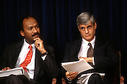 Treasury Secretary Robert Rubin and Franklin Raines Director of the Office of Management and Budget during the release the Fiscal Year 1998 Federal Budget February 6, 1997 in Washington, DC. Clinton unveiled his 1.69 trillion USD budget which he says will balance the budget by the year 2002.
