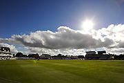The sun shining above the County Ground before the 3rd mornings play in the Specsavers County Champ Div 1 match between Somerset County Cricket Club and Nottinghamshire County Cricket Club at the Cooper Associates County Ground, Taunton, United Kingdom on 22 September 2016. Photo by Graham Hunt.
