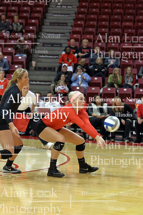17 October 2015:  Aly Dawson(12) during an NCAA women's volleyball match between the Southern Illinois Salukis and the Illinois State Redbirds at Redbird Arena in Normal IL (Photo by Alan Look)