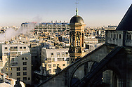France. Paris. elevated view. Beaubourg museum and the forum des halles, view from Saint Eustache church bell tower