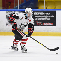 WHITBY, ON - SEP 22,  2016: Ontario Junior Hockey League game between Georgetown and Whitby, Jordan Crocker #9 of the Georgetown Raiders skates with the puck during the first period.<br /> (Photo by Andy Cornea / OJHL Images)