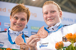 20.05.2012, Pieter van den Hoogenband Swimming Stadium, Eindhoven, NED, LEN, Turmspring Europameisterschaft 2012, Synchonspringen Damen 3 Meter Springbrett, im Bild Uschi Freitag and Katja Dieckow (GER) bronze medal // during Women's 3m springboard synchro - final of LEN Diving European Championships at Pieter van den Hoogenband Swimming Stadium, Eindhoven, Netherlands on 2012/05/20. EXPA Pictures © 2012, PhotoCredit: EXPA/ Insidefoto/ Giorgio Perottino..***** ATTENTION - for AUT, SLO, CRO, SRB, SUI and SWE only *****