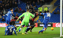 Close call for Cardiff City's goalkeeper David Marshall as Brighton and Hove Albion's Leon Best gets close to the Cardiff net - Photo mandatory by-line: Paul Knight/JMP - Mobile: 07966 386802 - 10/02/2015 - SPORT - Football - Cardiff - Cardiff City Stadium - Cardiff City v Brighton & Hove Albion - Sky Bet Championship