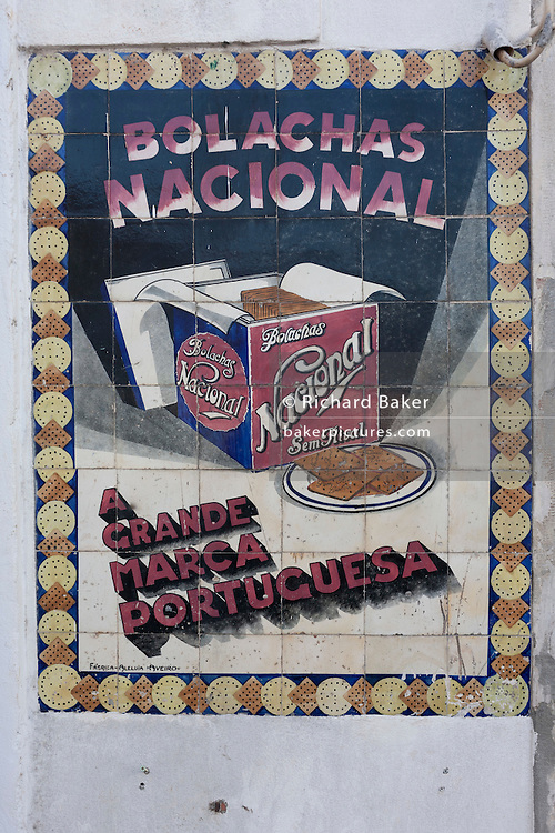 Detail of an old advert made from traditional Portuguese ceramic tiles, for the large cookie and biscuit brand (Bolaches Nacional) , on 17th July, at Coimbra, Portugal. Nowadays, Nacional make all varieties of biscuit - including shortcake and crackers. (Photo by Richard Baker / In Pictures via Getty Images)