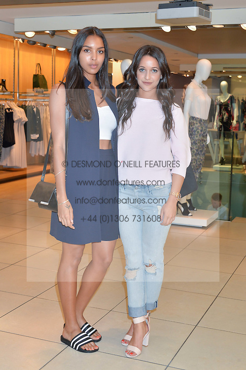 Left to right, singer ARLISSA and ROXIE NAFOUSI at the French Connection #NeverMissATrick Launch Party held at French Connection, 396 Oxford Street, London on 23rd July 2014.